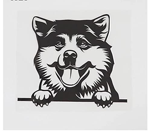 MDGCYDR Adesivo per Auto Cane 13.9Cmx12.1Cm Akita Dog Hound Decal Peeking Dog Vinile Adesivo per Auto Nero/Argento