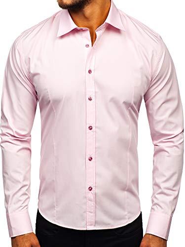 BOLF Herren Hemd Langarm Freizeithemd Classic Elegant Buisness Party Bügelleicht Farbwahl Unifarben Einfarbig Basic Slim fit 1703 Rosa L [2B2]