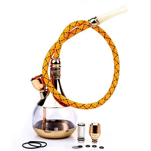 QqHAO Conjunto portátil cachimba, Mini Manguera cachimbas Kit Combinado Conjunto con aleación de Zinc Accesorios Filtro Fumadores, para los Hombres,Oro