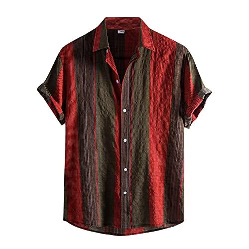 BIBOKAOKE Hawaï, hemd voor heren, korte mouwen, linnenlook, vrijetijdshemd, Hawaii, verticale strepen, zomer, bedrukt T-shirt, vakantie, ademend, strandhemd, Henley shirt, los werkhemd