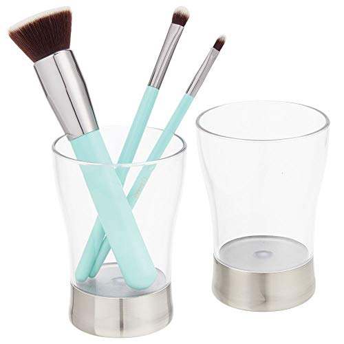mDesign - Tandenborstelhouder in 2-delige set - beker voor het opbergen van tandenborstels, tandpasta en meer - ideale bergruimte voor badkameraccessoires - doorzichtig/geborsteld