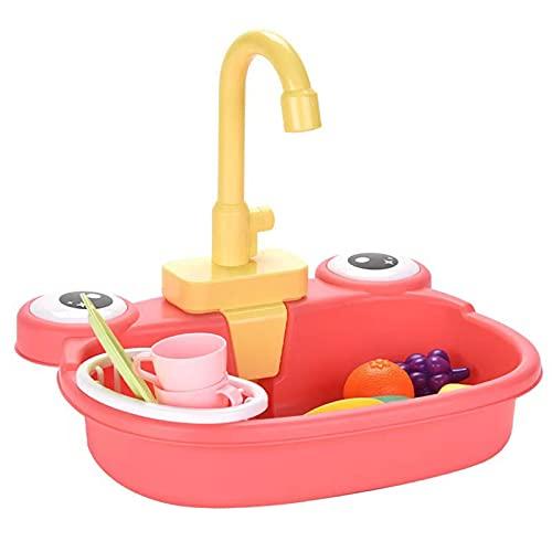 Bartholomew Juego de juguetes de fregadero de cocina para niños, linda rana que diseña el lavavajillas eléctrico con sistema automático de ciclo de agua para niños