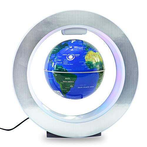 Magnetic Floating Globe World Map Circular Frame with Colorful LED for Home Office Desk Decoration