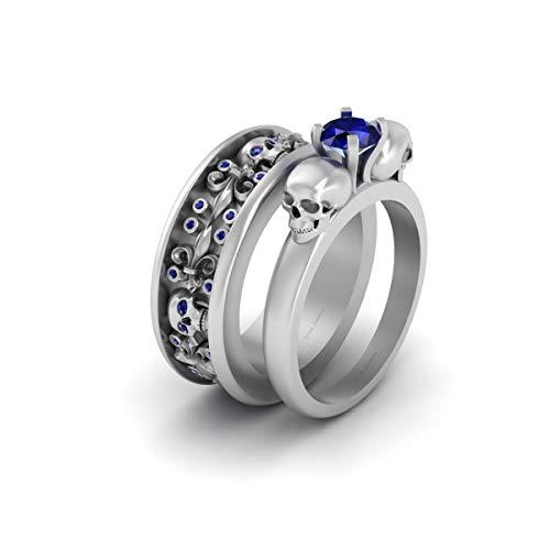 Juego de anillos de boda de oro blanco sólido de 10 quilates con calavera de zafiro azul de 1,20 quilates para él y ella