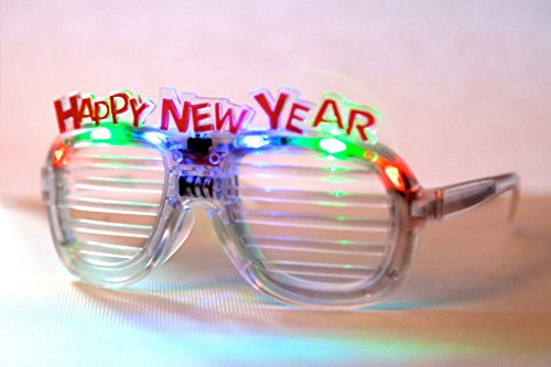(HAPPY NEW YEAR) - HAPPY NEW YEAR FUNNY PARTY LED GLASSES, LIGHTS, 2015, OUTFIT, COSTUME ACCESSORIES. CHRISTMAS GIFT