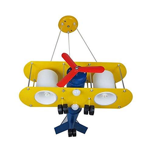 Massoser Vliegtuig hanglampen, kinderkamer jongens slaapkamer kroonluchter plafondlamp oogbescherming cartoon ijzeren lampen, E27 huishoudverlichting