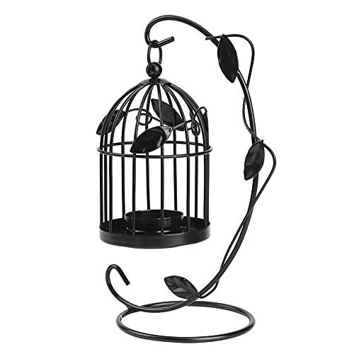 Innovador Ahueca hacia Fuera el candelabro Colgante Forma de Jaula de Hierro Candelero con Hojas Decoración Adorno doméstico(Negro)