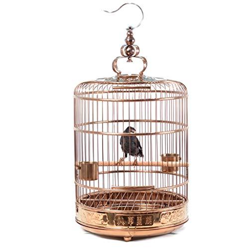 YCDJCS Cages et poulaillers Oiseau Cage Oiseau Cage en Acier Inoxydable Grande Cage d'élevage Myna Ronde Cage Portable Oiseaux Pet Supplies (Color : Gold, Size : 41 * 51 cm)