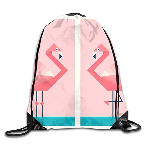 ZHIZIQIU Drawstring Bags Bulk Flamingos in Geometric Origami Drawstring Backpack Bag Shoulder Bags Bag for Adult Size: 4133cm