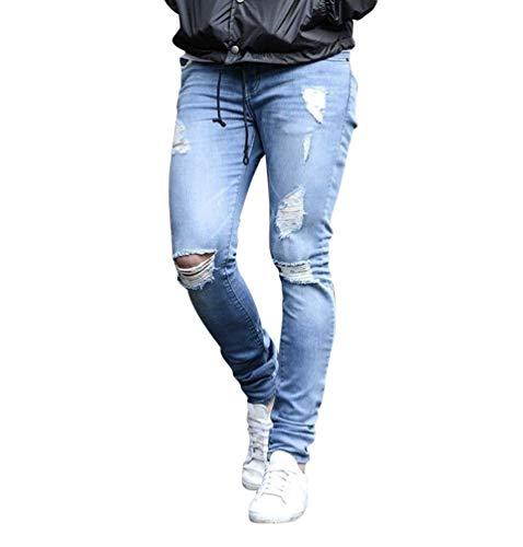 WanYangg Jeans Herren, Männer Casual Übergröße Skinny Slim Fit Elastisch Zerstört Stretchy Ripped Zerrissene Hosen Denim Pants Jeans Freizeit Röhrenjeans Destroyed Hose Jeanshosen Hellblau 3XL