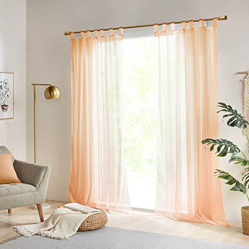 Gardinen Schals Vorhänge Transparent Vorhang für große Fenster Schlafzimmer Benny Orange, lang (2er-Set, je...