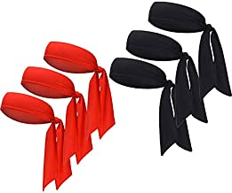Sports Headband - Head Tie Tennis Tie Hairband - Sweatbands Headbands Wristbands Head Wrap - Ideal for Working Out,Tennis (6pcs-3red+3black)