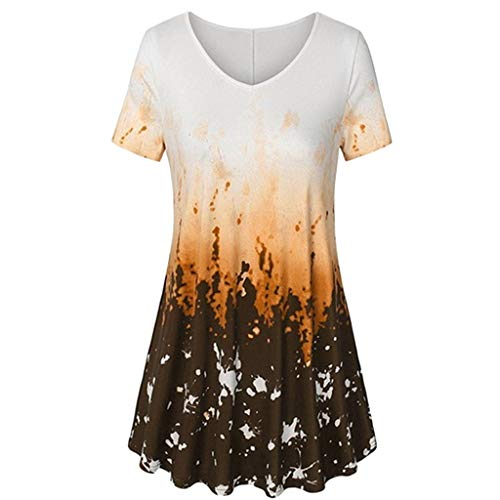 MRULIC T-Shirt Damen V-Ausschnitt Kurze Ärmel Bluse Gradient Farbe Tunika Oversize Oberteile Casual Sommer Lose Shirt (Gelb,EU-46/CN-3XL)