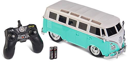 Carson 907324 Volkswagen 1:14 VW T1 Samba Bus 2.4G 100{d3b96369d1987874d8fa7cdce2ece7663620f9a33a2f7ed8b7b5681dd014b8b9} RTR türkis, Ferngesteuertes Auto, Licht und Sound, inkl. Batterien und Fernsteuerung, Fahrzeit ca. 45 min, 500907324