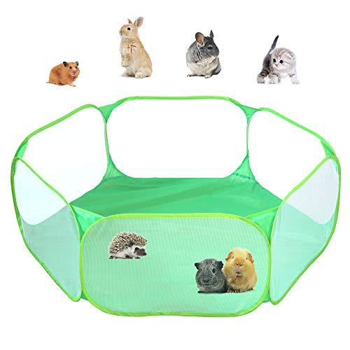 Parque de juegos Amakunft transpirable y transparente para mascotas pequeñas con abertura automática. Apto para exterior e interior y portátil. Ideal para conejos, hámsteres, chinchillas, erizos...