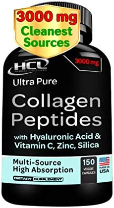 Collagen Peptides Pills from Cleanest Sources Super High Absorption with Hyaluronic Acid Vitamin product image
