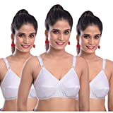 DADNI FASHION Bra for Women Combo Pack of 3 /Bra for Girl Full Coverage Non-Padded/Non-Wired Multicolor Everday Cotton Bra Daily use. (34, White)
