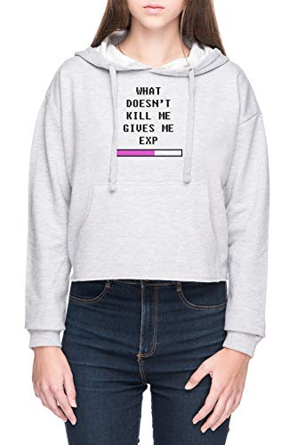 What Doesnt Kill Me, Gives Me Exp Damen Bauchfreies Crop Kapuzenpullover Sweatshirt Grau Women's Crop Hoodie Grey