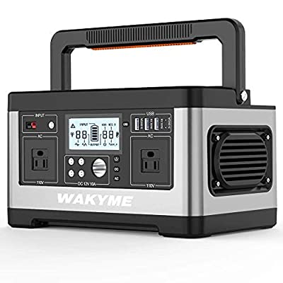 WAKYME Portable Power Station Explorer 500, 518Wh Outdoor Generator with 110V/500W AC Outlet, Portable Solar Generator Power Outage Emergency Kit
