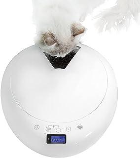 自動給餌器(6食分)JUNSPOW 録音ボイス&24時間タイマーセット可能 LEDディスプレイ設定簡単 ドライ・ウェットフード対応、6食分6 x 320ml