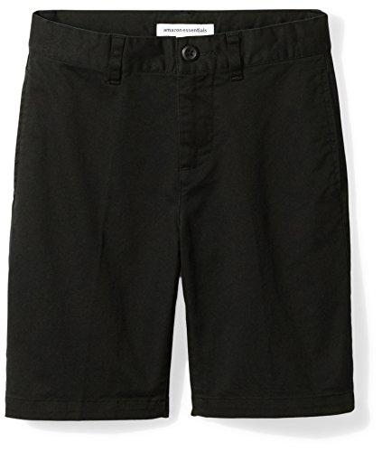 Amazon Essentials Kids Boys Woven Flat-Front Khaki Shorts, Black, 10 Husky
