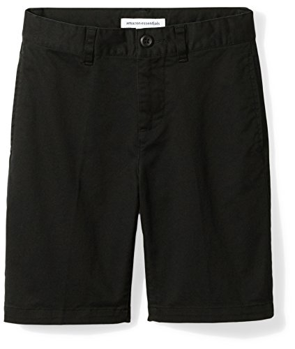 Amazon Essentials Kids Boys Woven Flat-Front Khaki Shorts, Black, 10 Husky