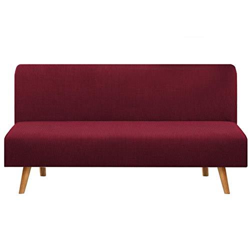 JBNJV Funda para sofá elástica sin Brazos, 1 Pieza, Funda para sofá Cama, Funda para sofá, Funda Lavable, Protector de Muebles con Fondo elástico para Sala de Estar, Rojo, 3 Asientos