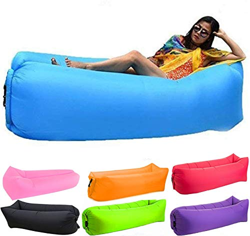 Bry Inflatable Lounger Air Chair Sofa Bed Sleeping Bag Couch for Beach Camping Lake Garden (Blue-2)