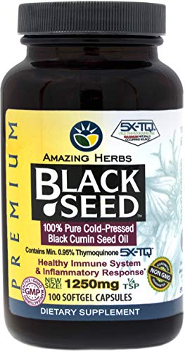 Amazing Herbs Black Seed Oil Pills 1250mg, 100 Softgel Capsules - Cold-Pressed | Non GMO