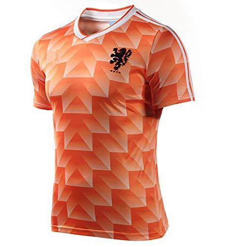 YANDDN Camisetas de fútbol Retro Camiseta de fútbol del Equipo Nacional holandés de la Copa Mundial de 1988 Camiseta de Borgkamp Van Basten, Camiseta de Pelota de la versión para fanáticos-XXL