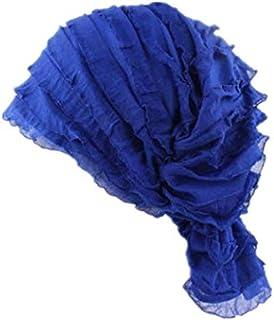قبعة نوم ناعمة من الساتان مع شريط مطاطي عريض ممتاز للنساء باللون الازرق