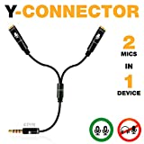 Y Splitter Mic and Mic - Microphone TRRS Splitter - 2 Microphone Splitter - Y-Splitter - Y-Connector Audio Signal Splitter Cable for Lavalier Microphone