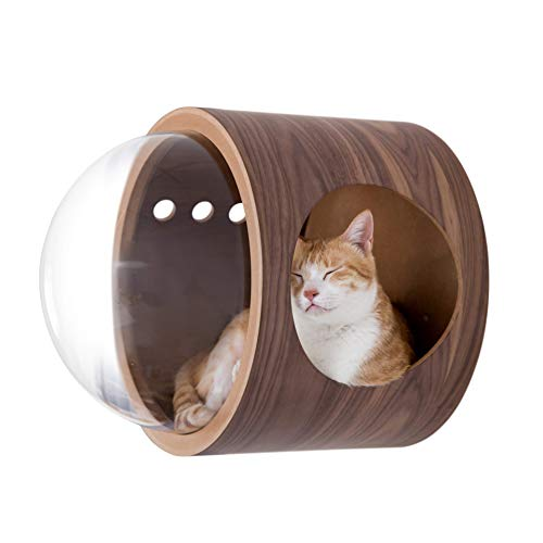 MYZOO Spaceship Gamma, Pet Bed for Cat & Dog, Window Perch, Cat Tree, Made of Wood … (Walnut, Open Right)
