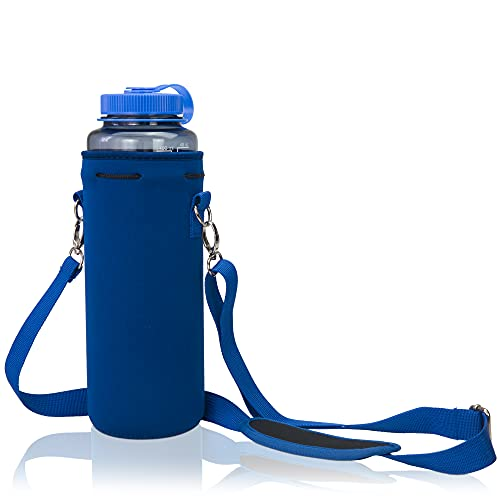 Made Easy Kit Neoprene Water Bottle Carrier Holder with Adjustable Shoulder Strap for Insulating and Carrying Water Container Flask - (Blue, L (32oz / 1.5L)) Available in 5 Sizes