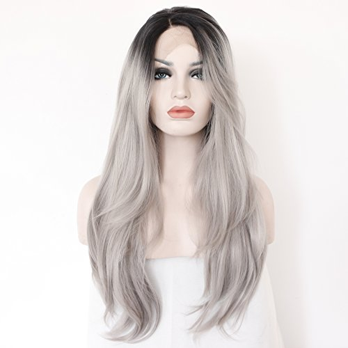 K'ryssma® Grey Ombre Black Roots Natural Straight Soft Hair Synthetic Lace...