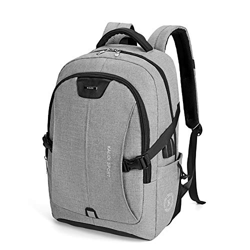 KALIDI Multifunctional 15.6 Inch Laptop Backpack Water-Resistant Travel Business Computer Rucksack Shcool Bag with USB Charging Port and Earphone Slot,Grey