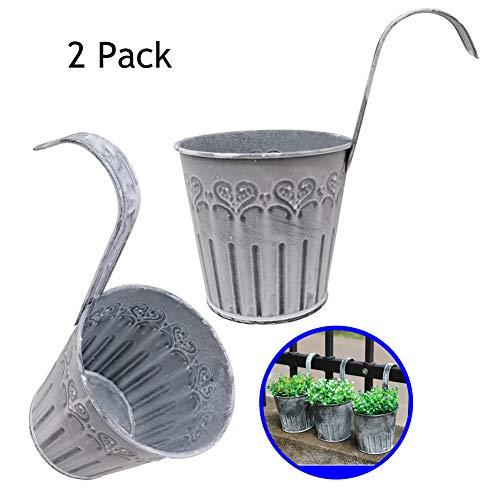 Macetas Colgantes, Maceta metal hierro para colgar el balcón,hierro del florero macetas de macetas de hierro de metal con orificio de drenaje perfecto para la decoración del hogar del jardín