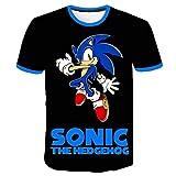 Sonic The Hedgehog Camiseta Ligera niños tee Animado impresión Camiseta de los niños Camisetas Casuales de Manga Corta Tops (Color : A01, Size : 120)