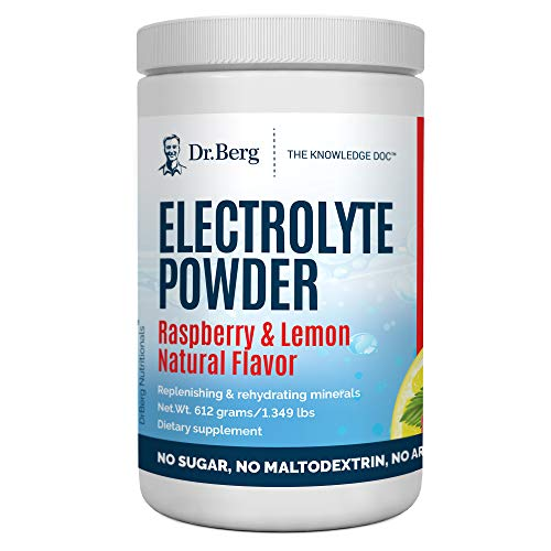 Dr. Berg's Original Electrolyte Powder Raspberry & Lemon Extra - Hydration Drink Mix Supplement w/ 13x Pottasium - Boost Energy & Keto Friendly - NO Maltodextrin Sugar & Carb Free - 90 Servings