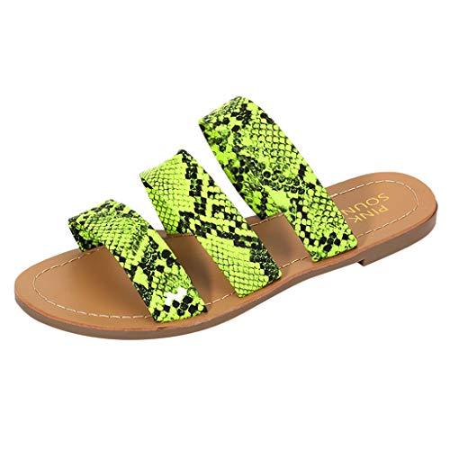 Damen Sandalen Schlangenhautmuster Bequeme Flache Beach Strandsandale Slingback Peep Toe Slip On Hausschuhe Slipper Sommer Outdoor Sandals Freizeitschuhe(2-Grün/Green,39)