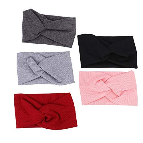 Lurrose 5 lazos grandes para la cabeza del bebé, tejido elástico, nudo, turbante, diadema para el pelo, accesorios para niños