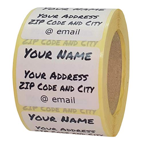 Adressetiketten Selbstklebend Personalisiert Namensaufkleber 100 Stück Adresse Adressen Etiketten 40x30 mm Weiß mit Schwarz Bedruckt Folie Wunschdruck Individuell (100 Stück)