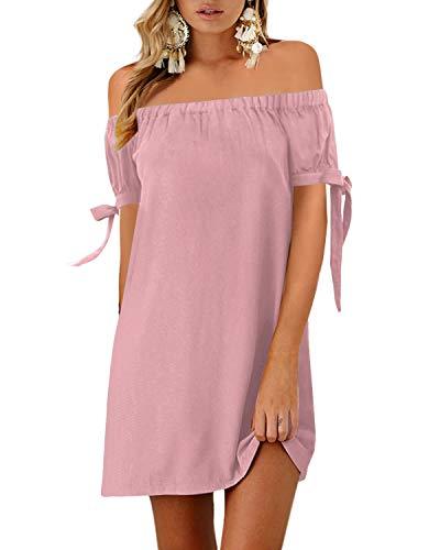 YOINS Sommerkleid Damen Kurz Schulterfrei Lange Ärmel Sexy Blumenmuster Strandkleid A-rosa XL