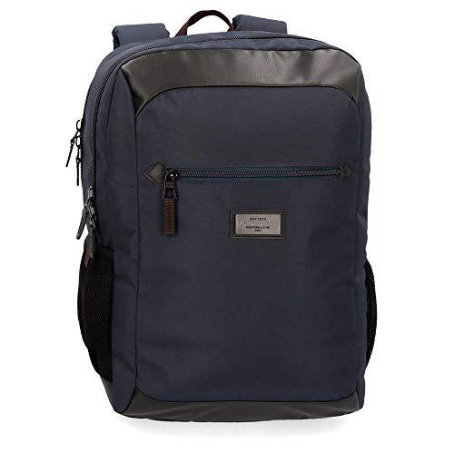 Pepe Jeans Lambert Rugzak met 2 vakken voor laptops met 39,6 cm (15,6 inch), blauw, 33 x 44 x 15 cm, polyester, 25,11 l