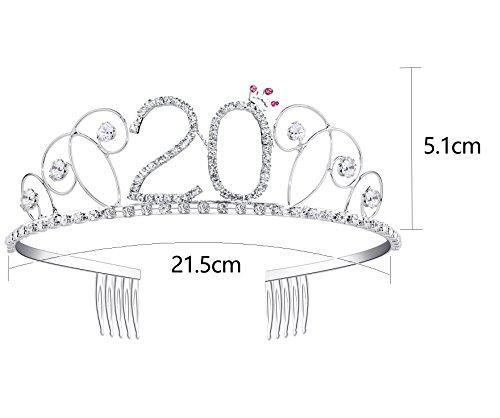 BABEYOND Kristall Geburtstag Tiara Birthday Crown Prinzessin Kronen Haar-Zusätze Silber Diamante Glücklicher 18/20/21/30/40/50/60 Geburtstag (20 Jahre alt) - 2