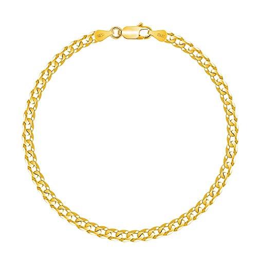 PLANETYS - Bracelet Argent 925/1000 Plaqué Or Jaune 18 Carats Maille Gourmette Plate Diamantée Largeur: 3.3 mm