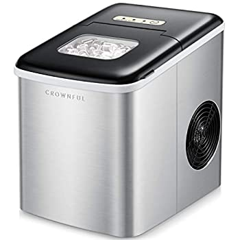 CROWNFUL Ice Maker Machine for Countertop 9 Ice Cubes Ready in 7 Minutes 26lbs Bullet Ice Cubes in 24H Electric Ice Maker with Scoop and Basket