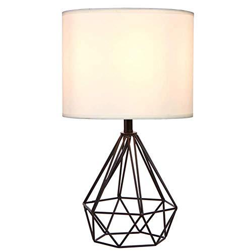 OMKMNOE Tischlampe Vintage Tischleuchte, Nachttischlampe Aus Stahl Und Stoff Farbe Gold Nachttischlampe Aus Stahl,Schwarz