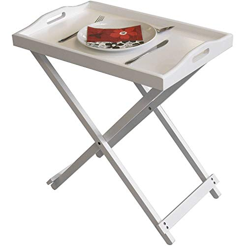 Taylor & Brown White Wooden Folding Butler Tray Breakfast Serving Laptop Tray Side Table