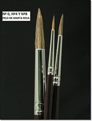 Pack de 3 pinceles Marta Roja serie 300 Nº 0 - 4 y 8
